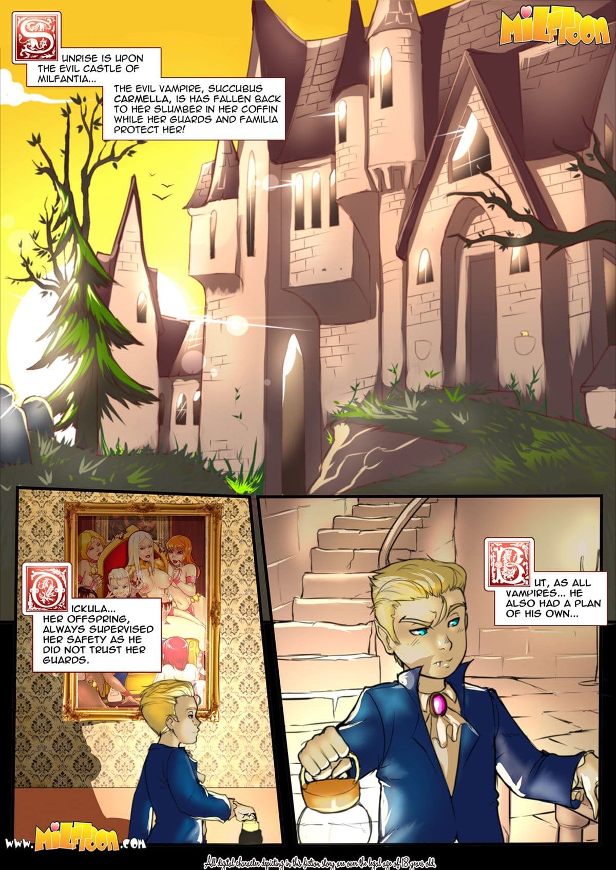 "Milftoon comic ""Carmilla"" - page 1"