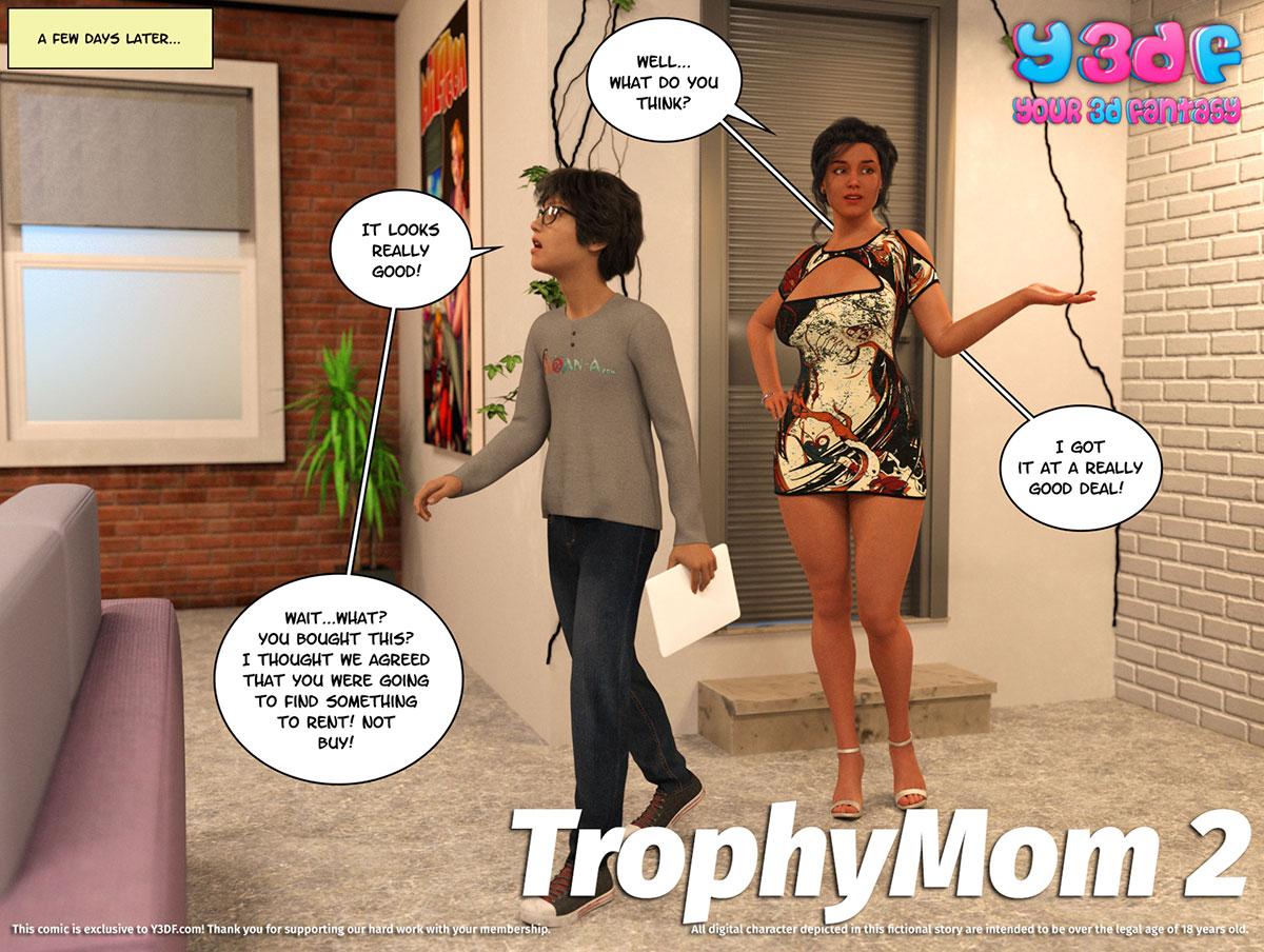 "Y3DF comic ""TrophyMom 2"" - page 1"