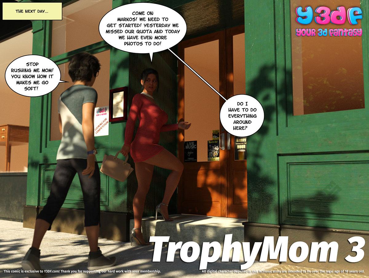 "Y3DF comic ""TrophyMom 3"" - page 1"
